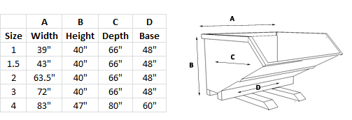 Tilt Hopper Dimensions